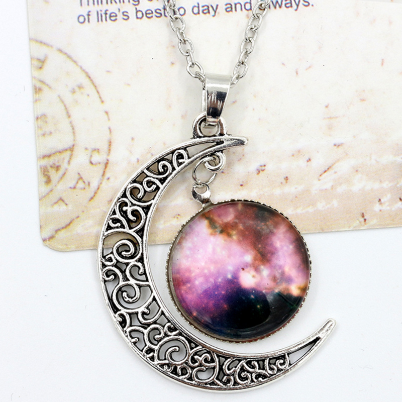 Glass Galaxy Necklace Lovely Hollow Moon Pendant Silver Chain Jewelry Accessories Women Men Statement Charm Choker(China (Mainland))