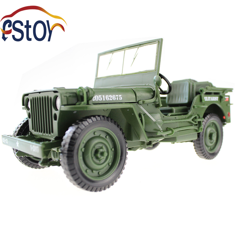 Alloy diecast Army Jeep Model 1:18 Miniature military off-road vehicle Collection gift Toy(China (Mainland))