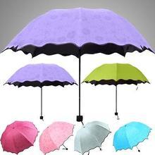 New Delicate Multi-function Umbrella Lady Princess Magic Flowers Dome Parasol Sun/Rain Folding Umbrella For Women(China (Mainland))