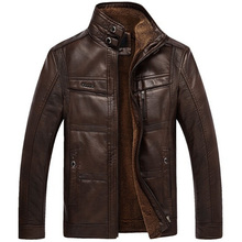 2016 PU Leather Jacket Men Brand High Quality Velvet Warm Winter Motorcycle Business Casual Mens Leather Jackets Coats,EDA113(China (Mainland))