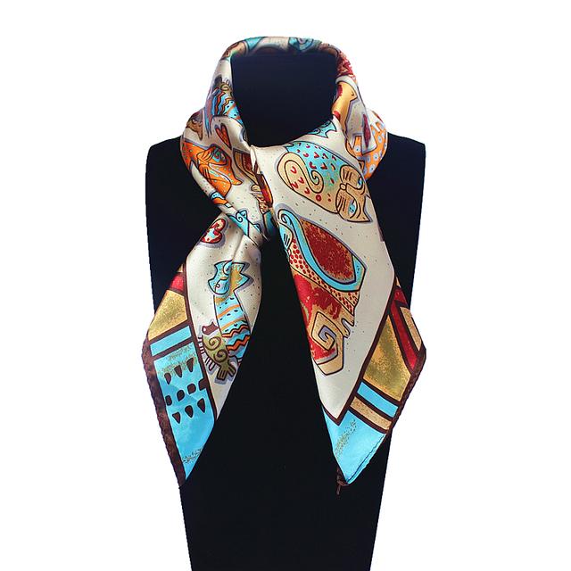 60 см * 60 см женщин 2016 новинка имитационные шелковый евро наций ветер богемия кот печатных шарф небольшой площади шарфы
