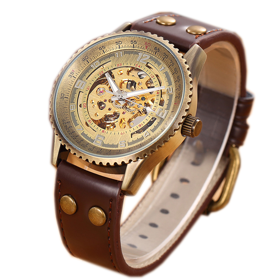 2 Colors SHENHUA Brand Vintage Skeleton Men Watch Relogio Masculino Retro Leather Automatic Mechanical Mens Wristwatches relojes<br><br>Aliexpress
