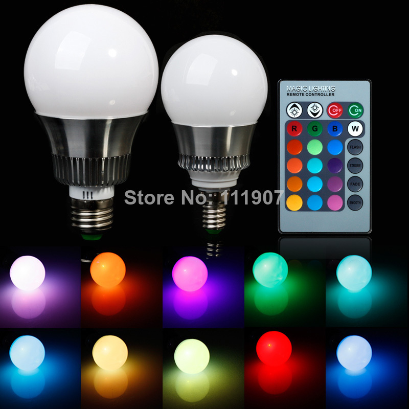 5pcs/Lot RGB E27 E14 5W/10W AC85-265V LED Bulb Lamp with Remote Control Multiple Colour LED Lighting Free Shipping<br><br>Aliexpress