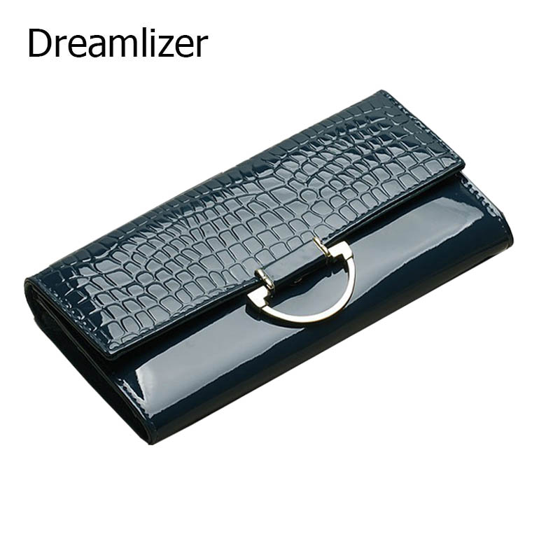 Dreamlizer Shining Women Genuine Leather Wallet Long 3 Fold Crocodile Women Purse Female Cellphone Bag Hand Clutch Wallet(China (Mainland))