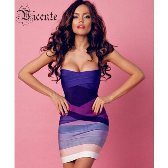 New free shipping rainbow pink ombre strapless mini bodycon hl