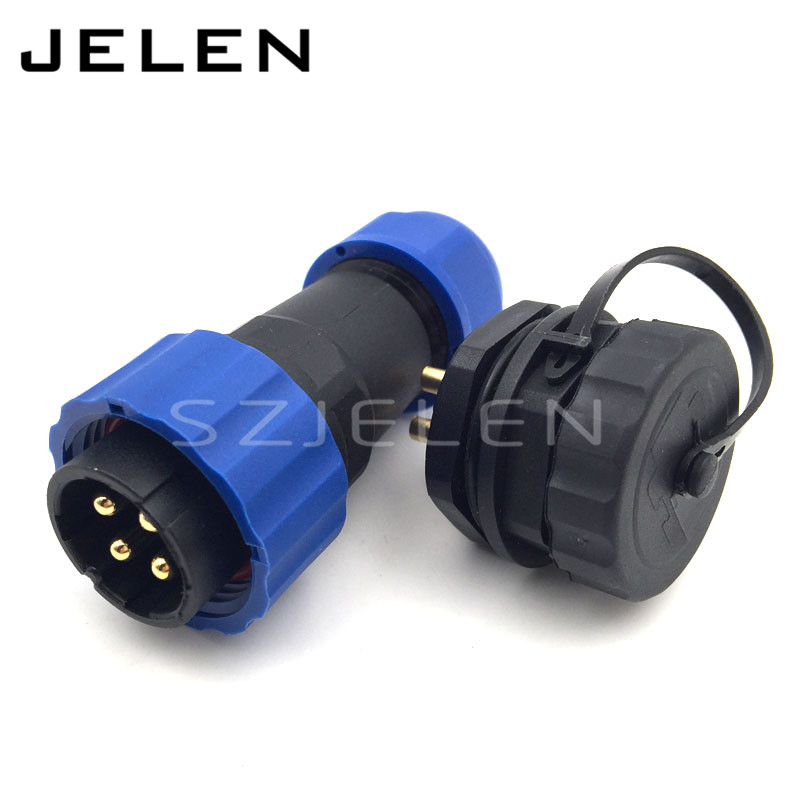 SD20TP-ZM, 4pin IP68 waterproof power wire connector male to female for outdoor, Rated current 25A, 20mm panel mount connector(China (Mainland))