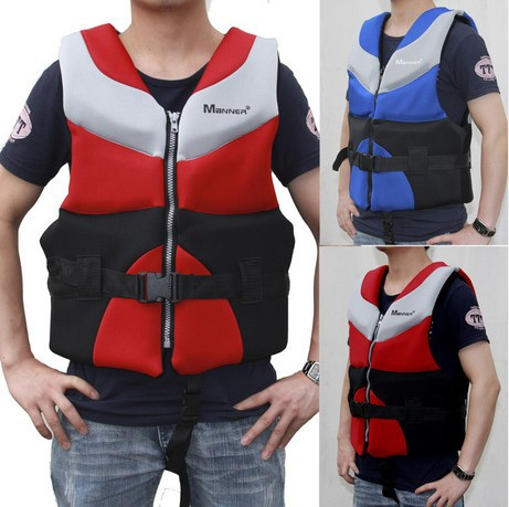 Red/Blue color Neoprene life jacket Rafting clothing Adult life vest Inflatable boat Swimming adjustable with buckle(China (Mainland))