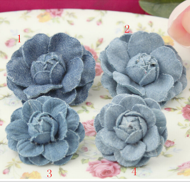 Diy jewelry making Hanmade Denim fabric Rose flowers 10pcs hair accessory/garments/Brooches/shoes decoration material(China (Mainland))