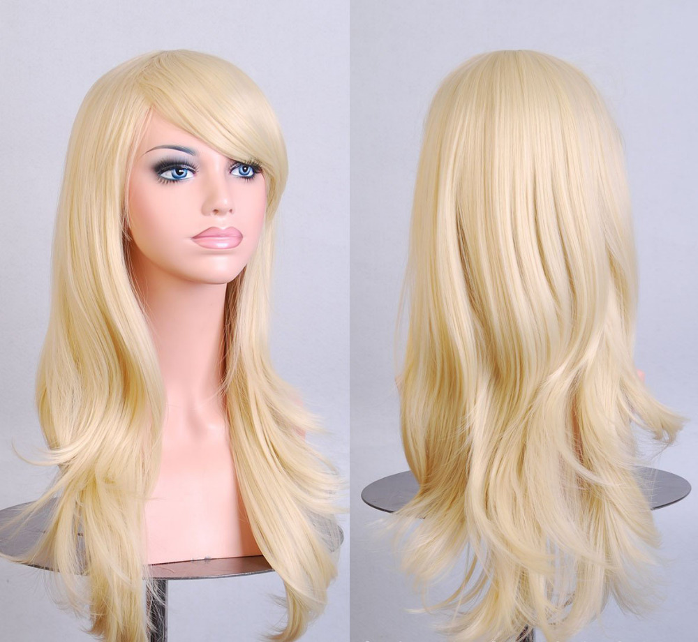 Stylish Curly Hair pad Light Blonde wig Cospaly 70CM Young long Synthetic Hair Perruque peluca feminina peruca Lolita(China (Mainland))
