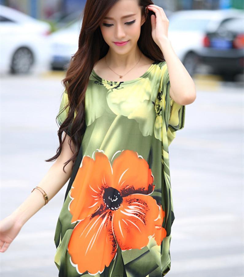 summer plus size Women Tops Fashion 2015 New casual Print bat short Sleeve Loose lady T shirt Female Blouses dress long tshirt(China (Mainland))