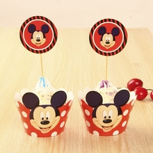 Mouse Cupcake Wrappers, Cup cake Muffin Paper Wrapper and Toppers Children Birthday Party Decoration Supplies