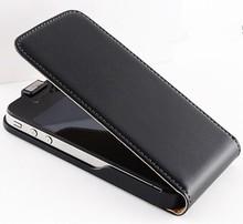 ใหม่! R etroซองหนังจริงแท้สำหรับiPhone 4 4S 4กรัม/ 5 5S 5กรัมหรูหราแนวตั้งโทรศัพท์พลิกแม่เหล็กอุปกรณ์เสริมฝาครอบสีดำ