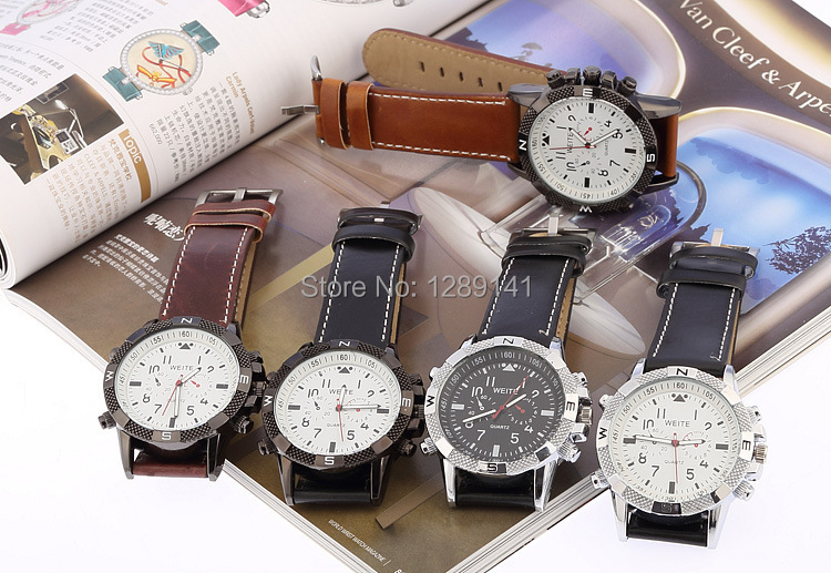 quartz item quality wristwatches high leather military watch pu watches sb men aw brand weite strap
