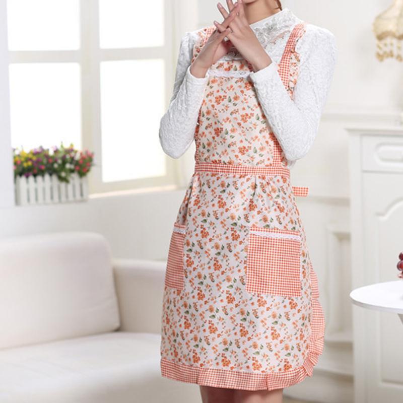 Women Lady Dress Restaurant Home Kitchen with Pocket Cooking Cotton Apron Bib Kitchen Bib Apron Dress with Pocket Gift(China (Mainland))