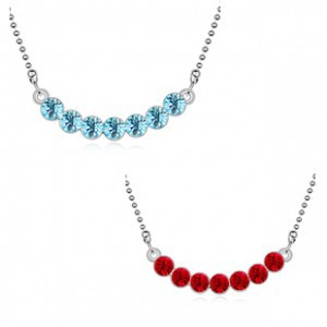 Platinum Plated Nickel Free Crystal Rhinestone Fantasia Necklace 7 stone women - Jinghong Jewelry store