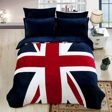 Flannel Fleece Thick British/America Flag Bedding set King Queen Size Winter Comforter Cover Set Fitsheet Bed sheet Pillowcases(China (Mainland))