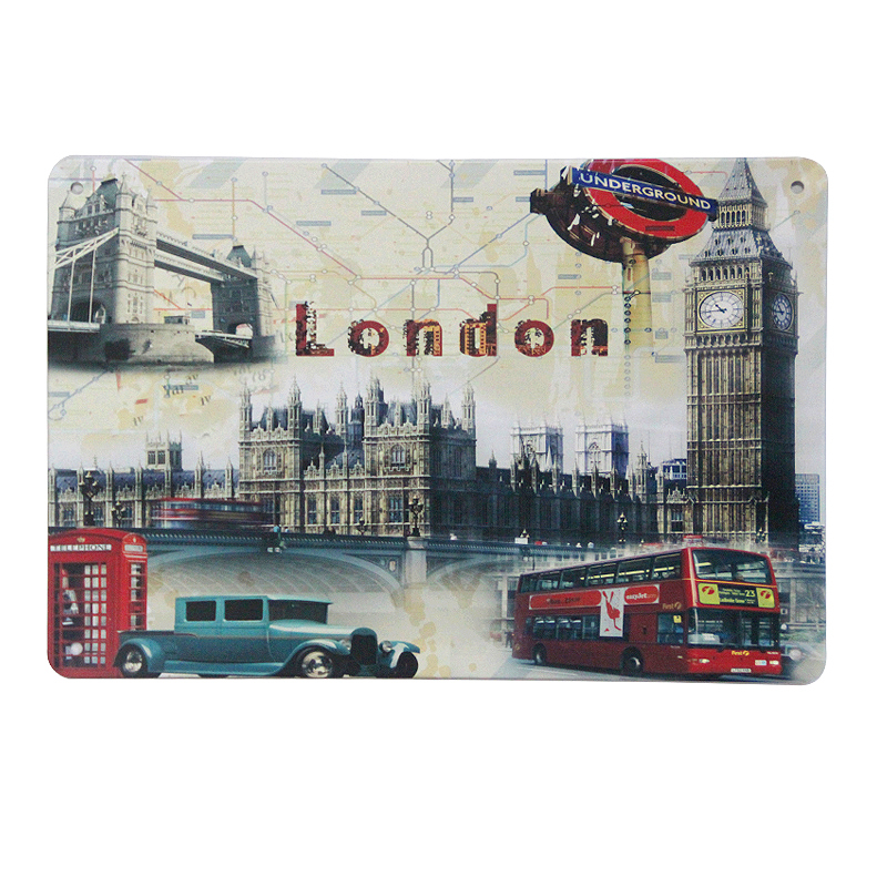 New Vintage home decor LONDON wall art metal tin sign - sizes of 20X30 CM Retro tin sign for home bar pub wall art decoration(China (Mainland))