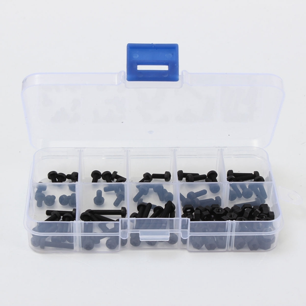 Hot Sale 160pcs M3 Nylon Black 3mm Screw And Nut Tool Assortment Kit Stand off Set