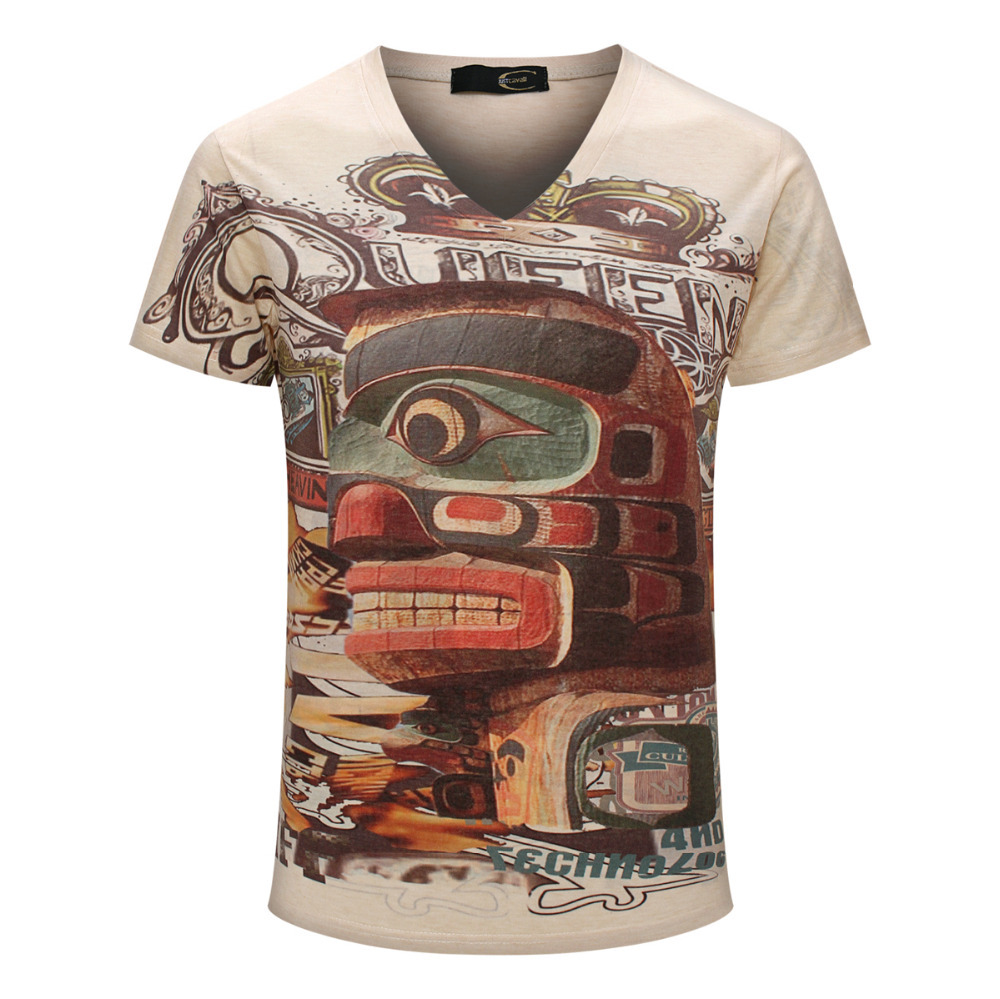 Color Graffiti Printed T shirt 2015 Brand Top Tees Boy Retro Mystery Printing Mens Shirt Casual