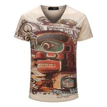Color Graffiti Printed T-shirt 2015 Brand Top Tees Boy Retro Mystery Printing Mens Shirt Casual Short Sleeve Blouse M-XXXL