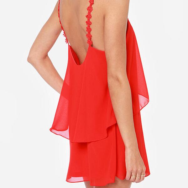 Платье с оборками шифон без рукавов,   и клубный лямки платья женщины длиной до колена - неправильная розовый