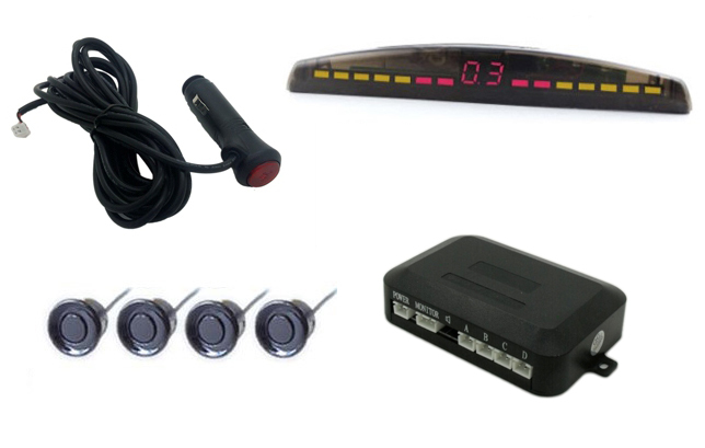 Free shipping Car Front Parking Sensor Kit,Parking Assist System with 4 front Sensors with switch S(China (Mainland))