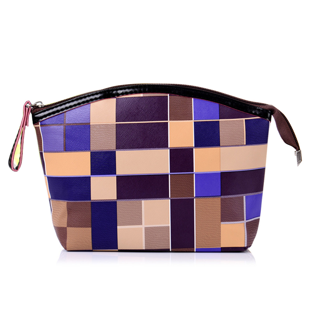New Arrival Women Plaid Waterproof Makeup Bag Korean Style PU Leather Travel Cosmetic Bag Organizer Portable Zipper Storage bags(China (Mainland))
