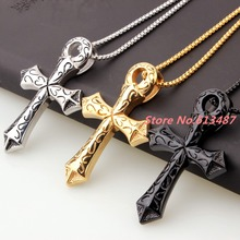 """Buy 2.87""""*1.85"""" 31g Men's Jewelry Silver & Gold & Black 316L Stainless Steel Cross Pendant Necklace Chain items Free 23.6"""" Box Chain for $8.99 in AliExpress store"""