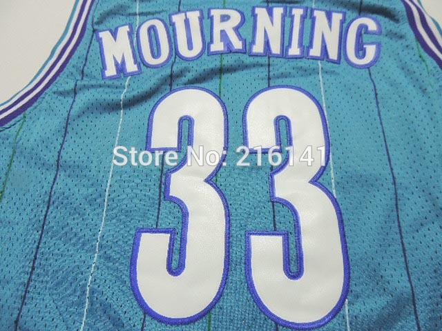 Stitched Charlotte Hornets #2 Larry Johnson #33 Alonzo Mourning Blue Retro Throwback Vintage Basketball Jerseys Embroidery logos(China (Mainland))