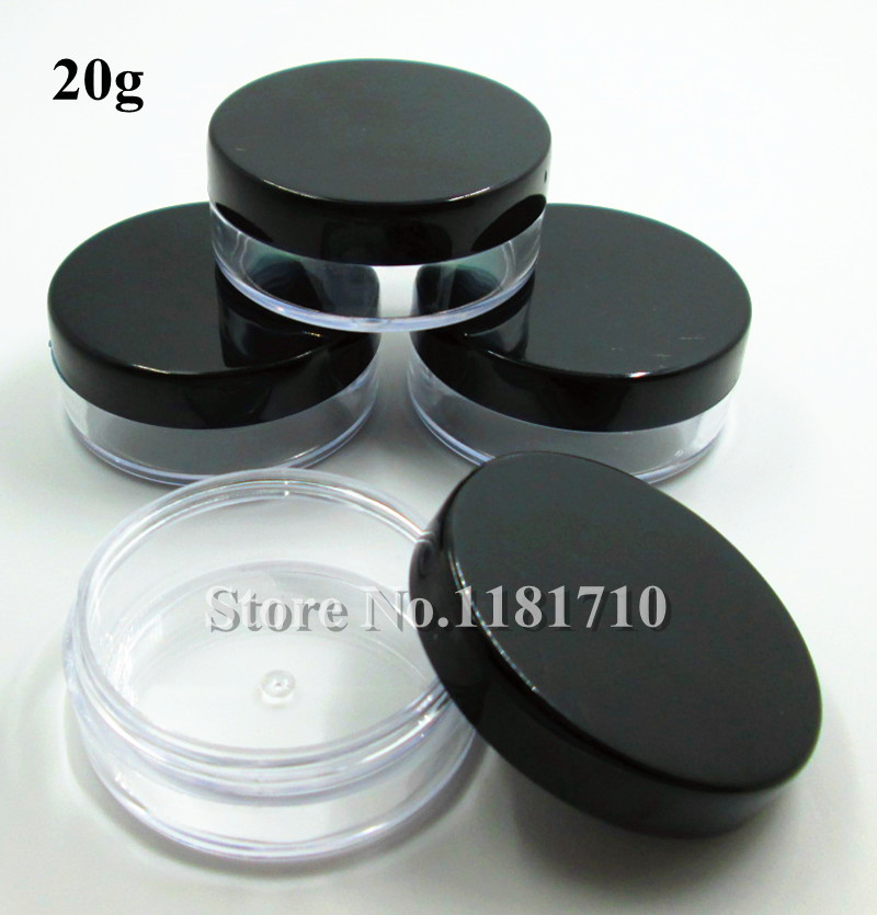 Wholesale 500pcs/lot 20g Plastic Jar Cosmetic Packaging Bottle Make Up Sample Jar Display Container with Black Cap<br><br>Aliexpress