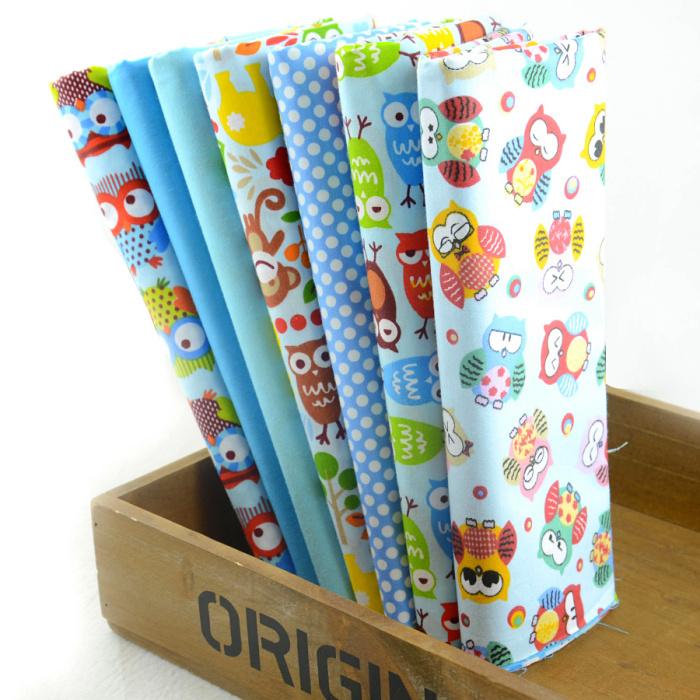 2014 new design cute blue owls cotton fabric fat quarters for Cute childrens fabric