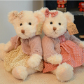 2pieces 28CM couple teddy bear with cloth plush toy stuffed doll girls best birthday gift