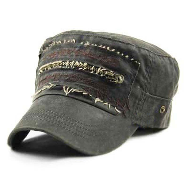 mix order free shipping wholesale - Vintage leather zipper cadet military cap hat male women's hat summer fashion trend of the(China (Mainland))