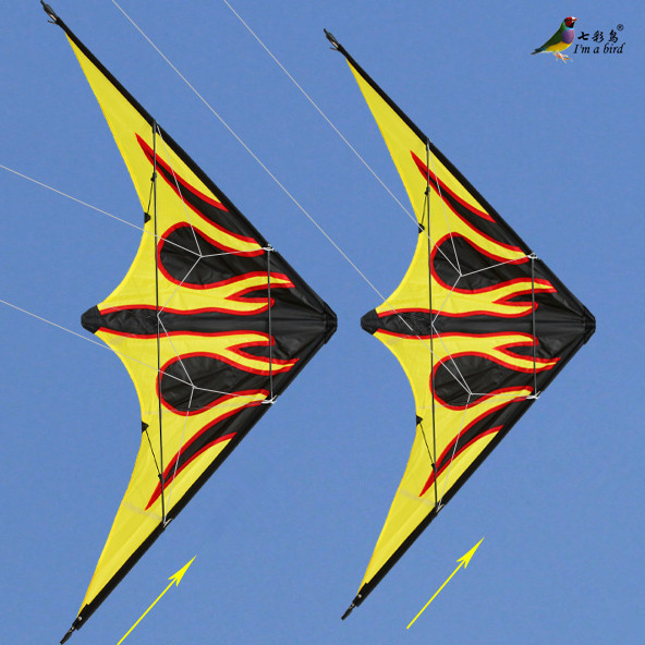 Free Shipping 2015 NEW Outdoor Fun Sports 1.6m Dual Line Flame Stunt Kite With Handle And Line Good Flying Factory Outlet(China (Mainland))