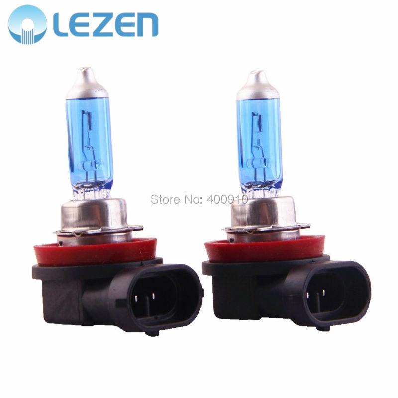 LEZEN 2x Car H11 Xenon Halogen Headlight Bulb Lamp Super White 5000K - 6000K 12V 55W(China (Mainland))