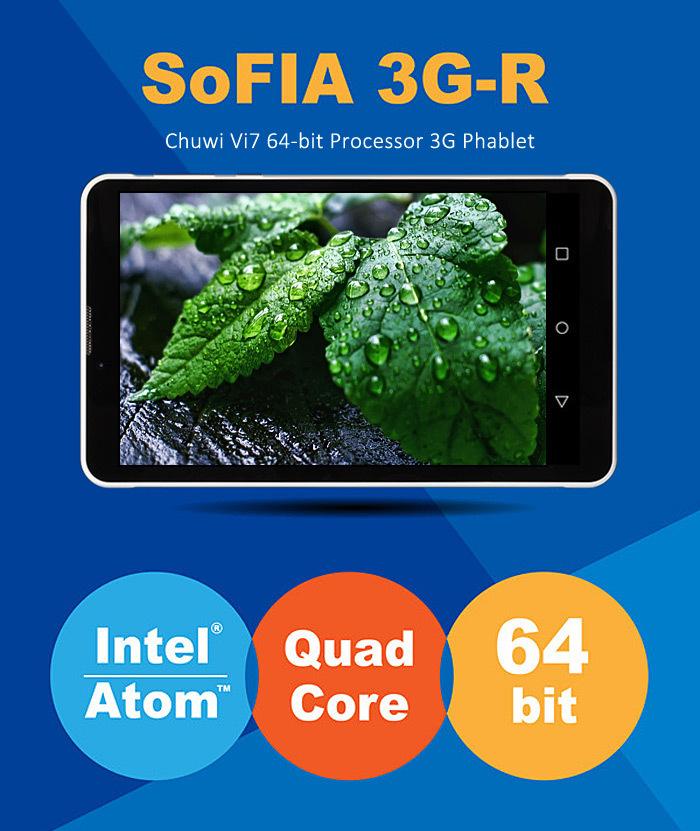 Original Chuwi Vi7 Android 5.1 3G Phablet  WSVGA Screen SoFIA AtomX3 C3230 Quad Core 1.2GHz 1GB RAM 8GB ROM WiFi GPS OTG