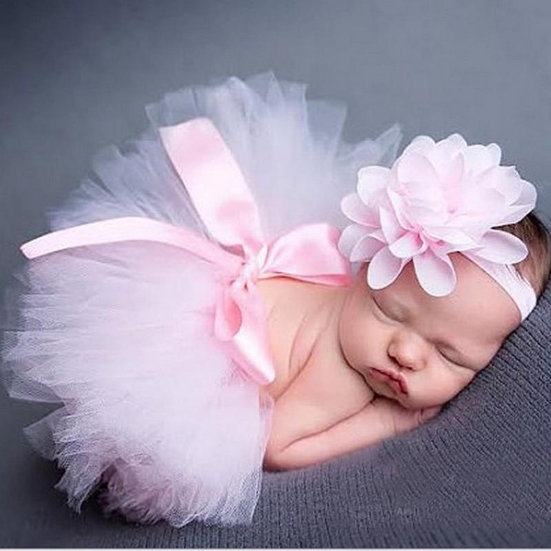 Infant Newborn Baby Girl Clothes Girls Flower Headband Mesh Ball ...