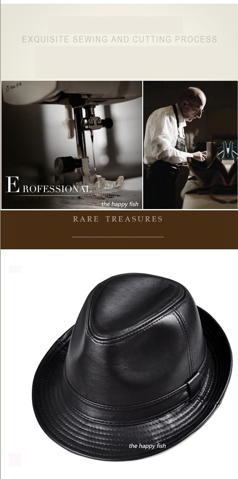 men fedora Trilby hat Black Leather Fedora Hat for men chapeau homme vintage jazz hats for men chapeu fedora (6)