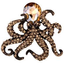 Yacq Gurita Pin Bros Antik Emas Warna Perak Kristal Hewan Bling Wanita Perhiasan Hadiah Istrinya Grosir Dropshipping BA16(China)
