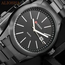 Aliosha originales Curren titanio negro hombre militar deportes relojes del cuarzo del reloj de acero completo reloj banda relojes de buceo