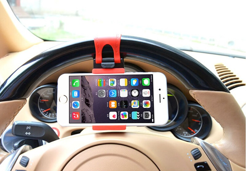 Car Steering-Wheel car Clip Mount stick auto Phone For xiaomi iphone 5 5s 6 6s plus GPS phone cases holder for mobile