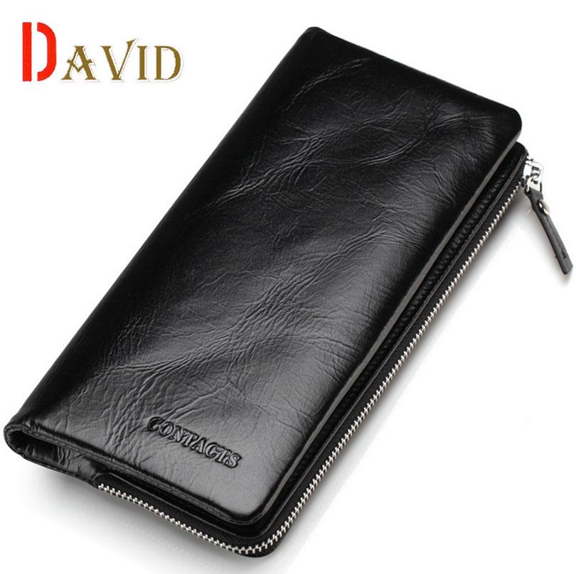 men famous brands long wallets 100% genuine leather purse high quality 2016 fashion new black money clip Retro zipper/<br><br>Aliexpress