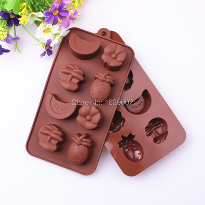 NEW Fruit Shape Cutter Plunger Press Tool Fondant Wedding Cake Topper Children Birthday Manufacture Supplies Silicone Mold(P-123(China (Mainland))