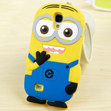 Fashional new arrival cute cartoon model silicon material Despicable Me Yellow Minion Case for Samsung Galaxy S4 S IV I9500