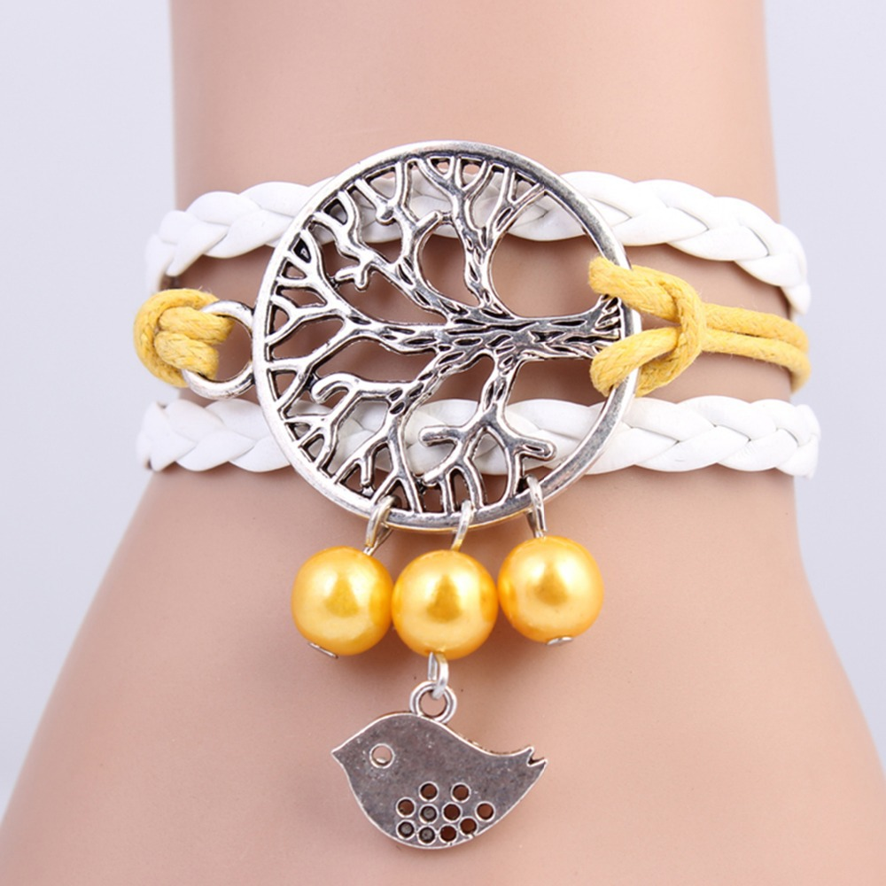 2014 New handmade High Quality Tree of Hope & Bird Pearl Charms infinity Bracelet white &yellow woven leather Braclet. IB706(China (Mainland))