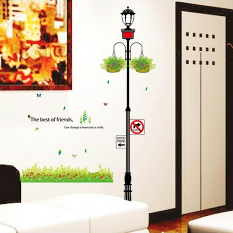 1pc Wall Sticker The Best of Friends Street Lamp Street Light Style DIY Wallsticker Home Room Decoration(China (Mainland))
