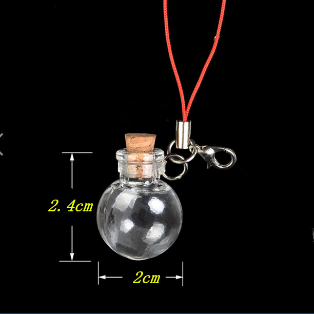 Mini Ball Glass Bottles Pendants Key Chain Small Wishing Bottles With Cork Arts Jars For Bracelets Christmas Gifts Vial 10pcs(China (Mainland))