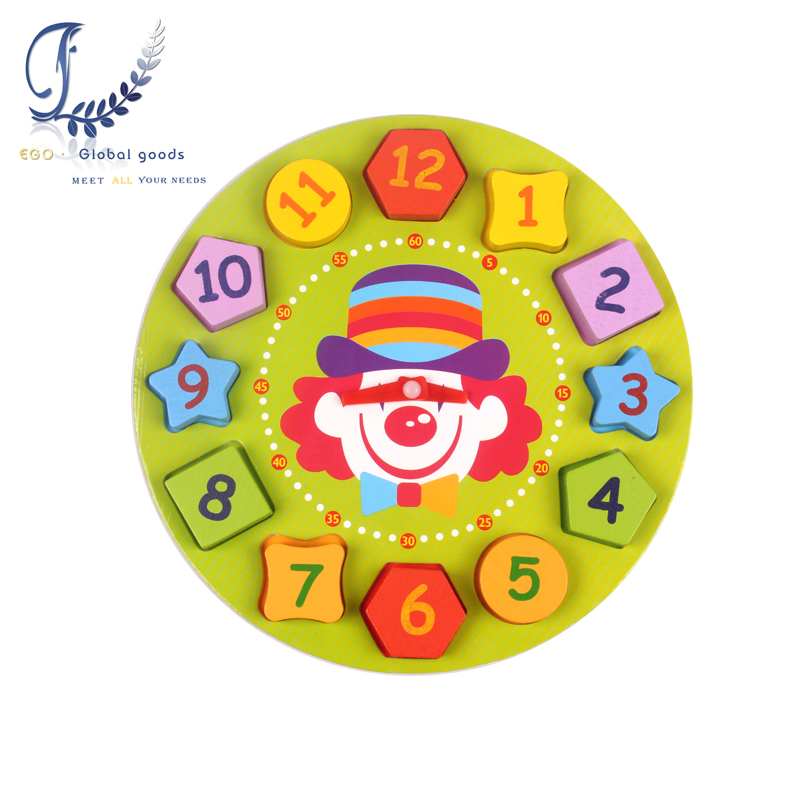 2016 New Wooden Digital Geometry Clock Blcok Kids Toys For Baby Boy Girl Gift Educational Toys Free Shipping oyuncak(China (Mainland))