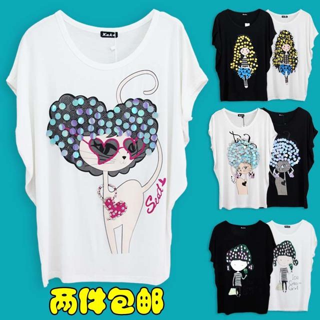 Summer 2013 women's loose plus size paillette female t-shirt short-sleeve