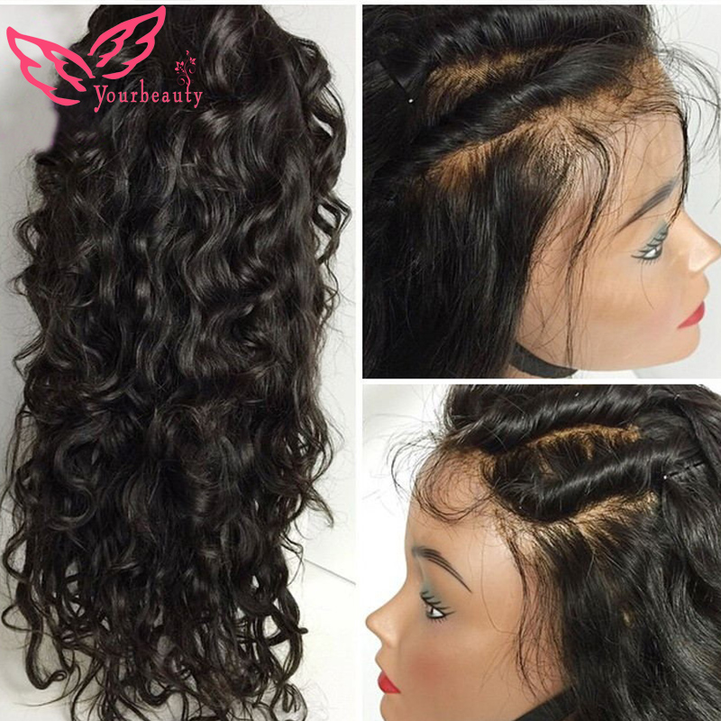 6A Virgin Peruvian Nature Wavy Full Lace Human Hair Wigs For Black Women Glueless Full Lace Wigs&Lace Front Wigs With Baby Hair